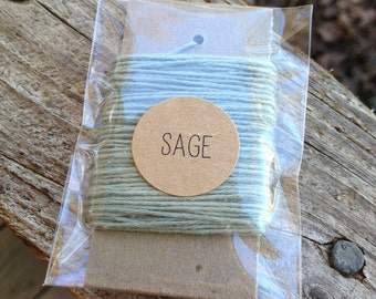 10 Yards - Solid  Baker's  Twine / String • 100% Cotton • Eco Friendly • Gift Wrap • Bakery String • Sage