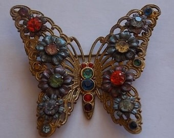 Vintage Czech Enamel Glass Butterfly Brooch Pin -lovely