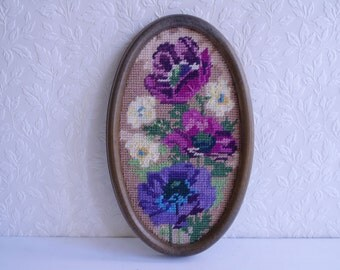 Small Oval Floral Tapestry in Purples