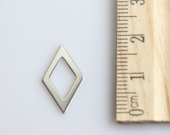 Rhombus Charm, 925 Sterling Silver Charm, Cot Out Rhombus Charm, Silver Rhombus Charm, Geometric Charm, Rhombus Pendant, 13mm (1 piece)