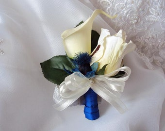 Wedding Natural Touch Ivory Calla Lily and Rose Corsage - Silk wedding Corsage