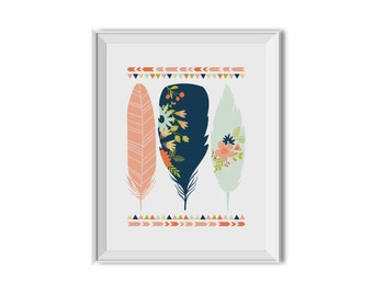 Feathers, Tribal Feathers, Flowers, Nursery Art, Children's Room Print, Girl. Feathers, Flowers, Tribal, Pink, Navy, Mint