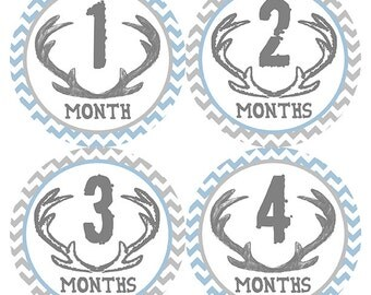 FREE GIFT, Baby Month Stickers Boy, Deer Antlers, Blue, Gray, Chevron, Monthly Baby Stickers, Baby Belly Stickers, Monthly Milestones