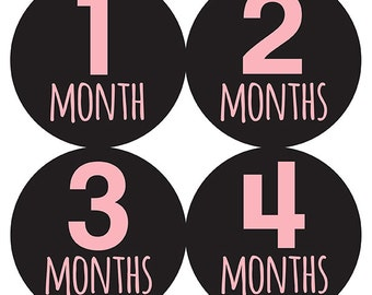 FREE GIFT, Monthly Baby Stickers, Girl, Pink, Black, Baby Month Stickers, Milestone Stickers, Baby Belly Stickers, Pink, Black, Girl