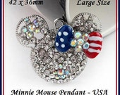 DISNeY MINNiE MOUSE Head/Ears ~ Chunky Large Size PENDaNT for Necklace ~ Sparkly Clear w AB Crystals & USA American July 4th Enamel Bow