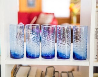 set of five blue swirly lined ombre glasses  retro 60s 70s