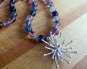 Fluorite Necklace - Flower Pendant - Purple Green Gemstone Jewellery - Sterling Silver - Chunky Jewelry - Mod Flower - Multicolor