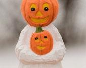 Hand Carved Halloween Pumpkin Head Ghost,  Halloween, Folk Art, Made in Ohio,  Halloween Shelf Decor, Halloween Art,