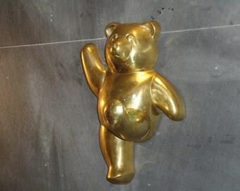 Vintage Brass Teddy Bear Hook-Door Wall Mount-Coat Towel Robe Hook-Hall Entryway Landing Strip Nursery Childs Room