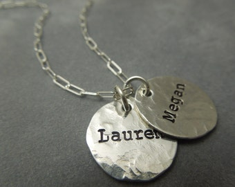 Personalized mothers necklace, hand stamped and hammered sterling silver
