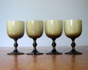 Four Mid Century Carlo Moretti Wine Glasses - Smoke / White Cased Glass