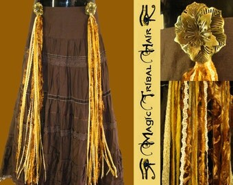STEAMPUNK gold copper yarn hair fall TRIBAL FUSION Golden Age hip hair tassels Neo Victorian Belly Dance hair accessory Cosplay Larp costume
