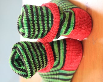 KNITTED WOOL SOCKS  -super wash wool - apple green black and trimmed in red - made to order -  I am melting - custom dyed - stripy socks