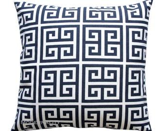 Greek Key Pillow, Towers Navy Blue Pillow Cover, Geometric Pillow, Zippered Pillow, Decorative Pillow, Blue Cushion Cover, Navy Throw Pillow