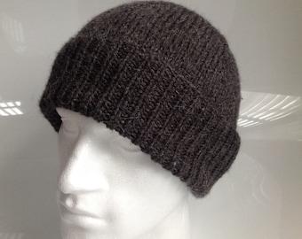 Mens Dark Grey Aran with Alpaca Beanie Hat  - Hand Knitted in Scotland