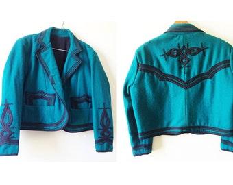 Southwestern Bolero Trapunto Quilting / Vintage Handmade Jacket / Teal & Black Blazer / Vintage Southwestern Style