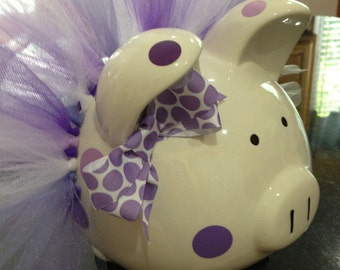 Polka Dot Tutu Piggy Bank-Large- Light purple, dark purple and white-Baby Gift