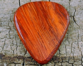Padouk - Wooden Guitar Pick - Wood Guitar Pick - Wood Plectrum - Exotic Wood - Wood Gift - Engraved Guitar Pick Option Available