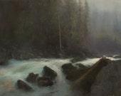 Original Landscape Painting River 20x30
