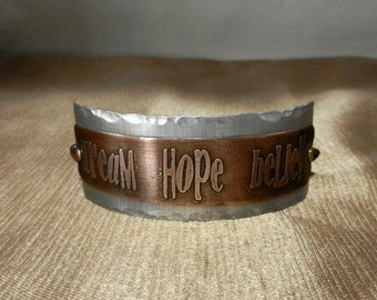 DREAM ~ HOPE ~ BELIEVE..... Mixed Metal Bracelet Cuff with Chain