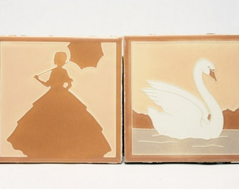 Franklin Tile Company (1923-1935) Art Deco 1920s Silhouette Tiles -- Pair in Fantastic Condition