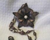 Antique Copper Flower Faux Pearl Necklace, Long Copper Flower Statment Necklace.  Aged Copper Necklace, Long Antique Copper Necklace