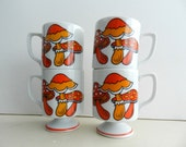 Vintage Retro Red, Orange and White Mushrooms Footed Mugs Set of 4