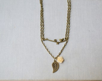 Bronze Branch and Peach Rose Necklace Set