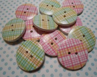 """Wooden Buttons 12 pcs. 1""""width Assorted"""