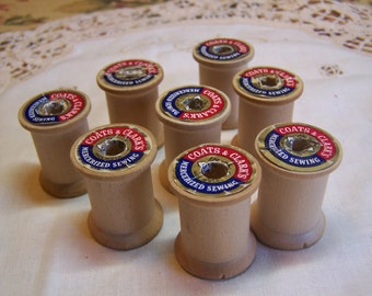 Collectible Vintage Small Wooden Spools Coats & Clark's Brand, Lot of 8