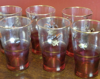 set  of 6 vintage 1960 red and floral tumbler drinking glasses