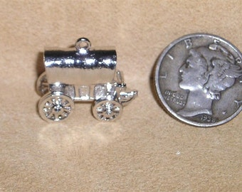 Vintage Wells Sterling Silver Charm Or Pendant Covered Wagon Movable 1970's Full Figure Signed Jewelry K37