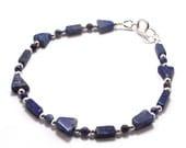 Lapis Lazuli & Silver Geometric Gemstone Bracelet