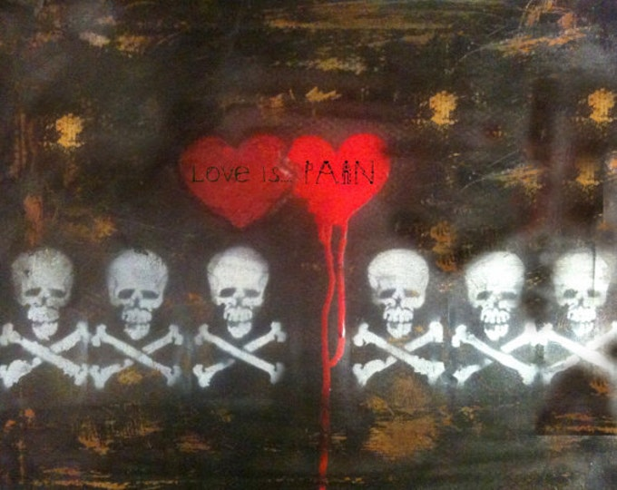Art & Collectibles, Painting, Original Spraypaint Art, Canvas, Skull Art, Heart Art, Artwork by Shannon Ruther, Stacey Gearing of Las Vegas