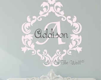 Monogram Wall Decal Baby Girl Nursery Vinyl Lettering Damask Frame Personalized Wall Art Girls Children Kids Decals