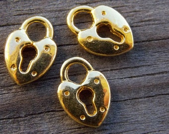 40 Gold Padlock Charms 13mm Heart Shaped