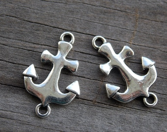Silver Anchor Connector Charms, Antiqued Silver, 23mm, 8pcs