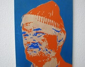Zissou Multilayer Graffiti Stencil Art on Wood Panel