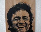 Johnny Cash Multilayer Graffiti Stencil Art on Wood Panel