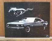 1969 Mustang Multilayer Graffiti Stencil Art on Wood Panel