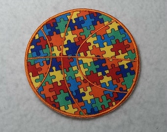 Basketball Autism Awareness Puzzle Piece - MADE to ORDER - Choose SIZE - Tutu & Shirt Supplies - Iron on Applique Patch 7177