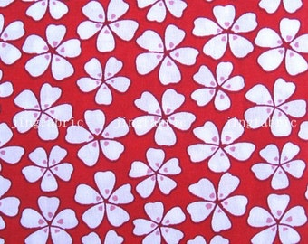 C2006A - 1 meter  Cotton Fabric - Flowers on red (145cm width)