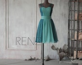 2015 Teal Bridesmaid dress, Contrast Color Wedding dress, A line Party dress, Short Formal dress, Elegant dress knee length (F030)