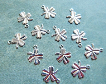 SALE!! 33% OFF!! 10 Bright Silver Plated Brass Teeny Tiny Shamrocks Clover Charms Jewelry