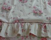 Vintage ruffled top shabby cottage chic style full flat sheet