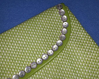 Raffia Clutch Purse with Vintage Pearly Buttons - lime green