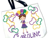 Personalized MARDI GRAS Tote Bead Bag- So cute!
