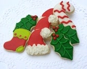 Mini Christmas Sugar Cookies - Holly, Stocking, Candy Cane, Sana Hat - CHRISTMAS PRE-ORDER