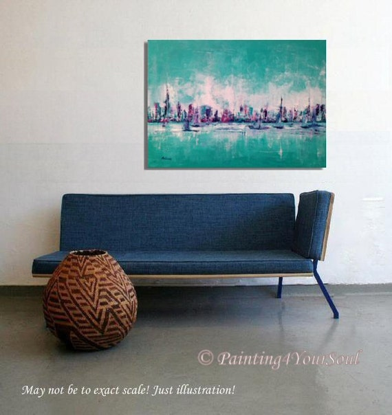 """New York city impressions, boats, skyscraper  - Original turquoise, purple cityscape artwork - abstract painting on canvas - 19,7"""" x 27,6"""""""