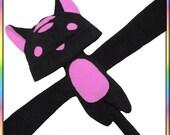 Pink Striped Kitty Plushie Hat - Fleece Black Anime Animal Ears Plush Scarf Tail Cute Kawaii Cosplay Geek Neko Cat Ears Adult Teen Child